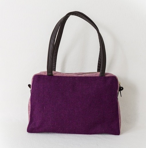 Katherine Emtage Elsie Day Bag Grape Heather front Harris Tweed
