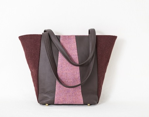 Katherine Emtage Freda Day Bag Cherry heather Harris Tweed front