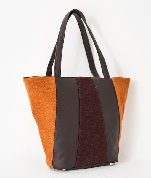 Katherine Emtage Freda Day Bag angle tangerine cherry Harris Tweed
