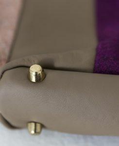 Katherine Emtage Freda Day Bag base detail grape Harris Tweed