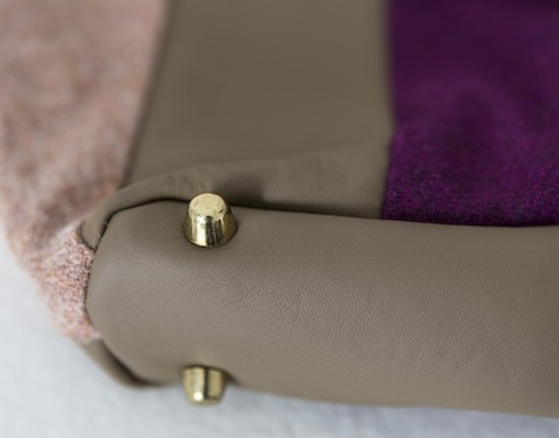 Katherine Emtage Freda Day Bag base detail grape Harris Tweed