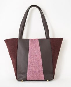 Katherine Emtage Freda Day Bag cherry and heather front Harris Tweed