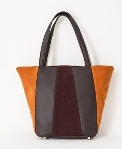 Katherine Emtage Freda Day Bag front tangerine cherry Harris Tweed