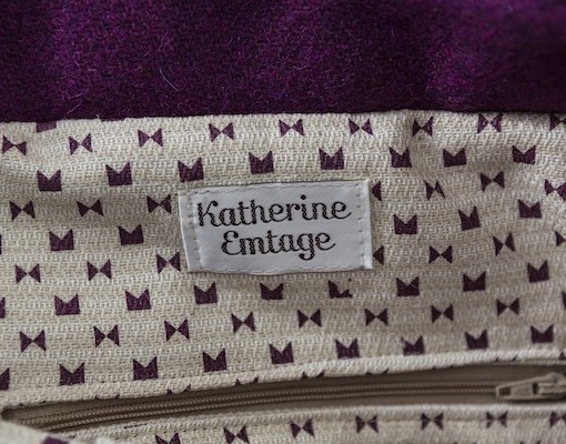 Katherine Emtage Freda Day Bag internal detail cherry Harris Tweed