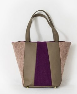Katherine Emtage Freda Day Bag salmon grape Harris Tweed