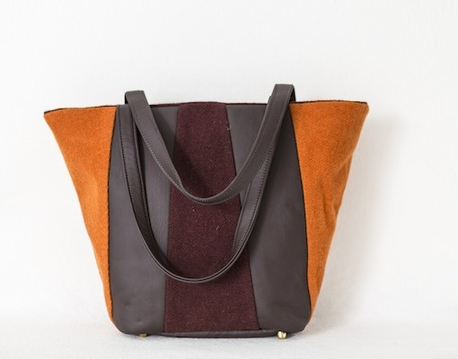 Katherine Emtage Freda Day Bag tangerine cherry Harris Tweed front