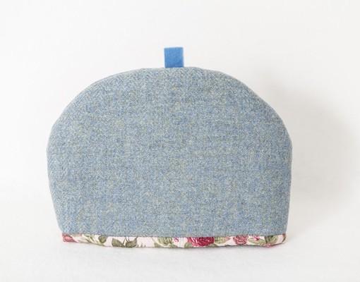 Katherine Emtage blue lovat Harris Tweed medium tea cosy front 1
