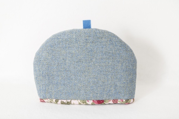 Katherine Emtage blue lovat Harris Tweed medium tea cosy front 1