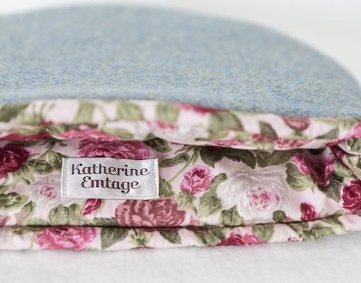 Katherine Emtage blue lovat Harris Tweed tea cosy inside