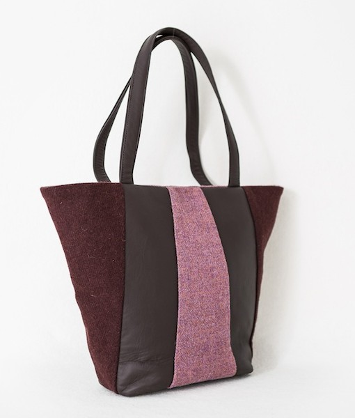 Katherine Emtage freda Day Bag angle cherry heather Harris Tweed