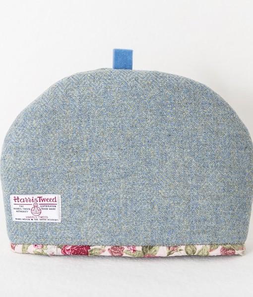 Katherine Emtage tea cosy blue lovat Harris Tweed medium reverse