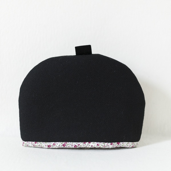 Katherine Emtage Harris Tweed black tea cosy front