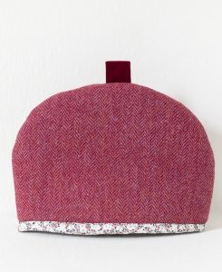 Katherine Emtage Harris Tweed medium tea cosy raspberry herringbone