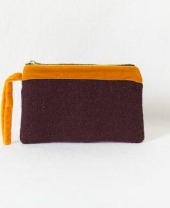 Katherine Emtage Harris Tweed pochette dark cherry tangerine velvet trim front