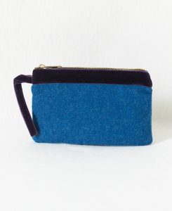 Katherine Emtage Harris Tweed pochette peacock with purple velvet trim