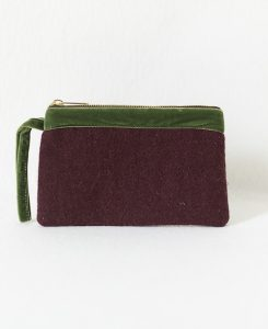Katherine Emtage dark cherry Harris Tweed pochette olive green trim front