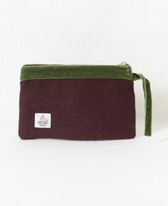 Katherine Emtage dark cherry Harris Tweed pochette olive green trim reverse