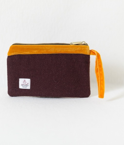 Katherine Emtage dark cherry Harris Tweed pochette with tangerine velvet trim reverse