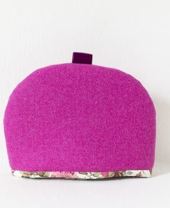 Katherine Emtage fuschia Harris Tweed medium tea cosy front