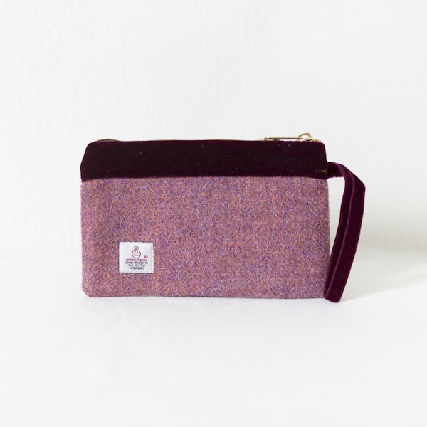 Katherine Emtage heather Harris Tweed pochette burgundy velvet trim reverse