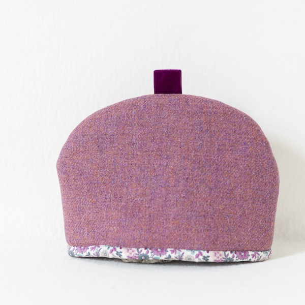 Katherine Emtage heather Harris Tweed tea cosy medium front