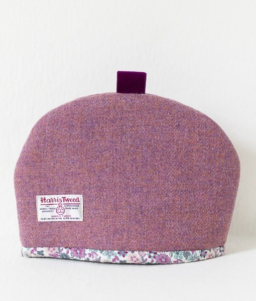 Katherine Emtage heather Harris Tweed tea cosy medium reverse