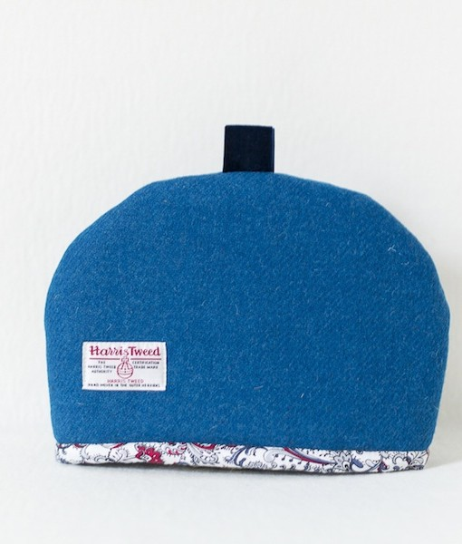 Katherine Emtage peacock Harris Tweed tea cosy medium reverse