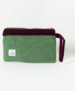Katherine Emtage pochette Harris Tweed leaf green with burgundy velvet trim reverse