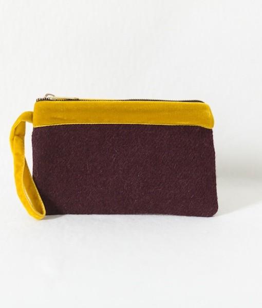 Katherine Emtage pochette dark cherry with mustard velvet trim front