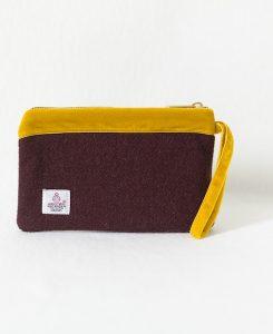 Katherine Emtage pochette dark cherry with mustard velvet trim reverse