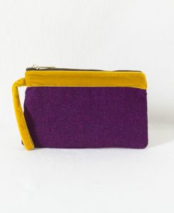 Katherine Emtage pochette grape Harris Tweed with mustard velvet trim front
