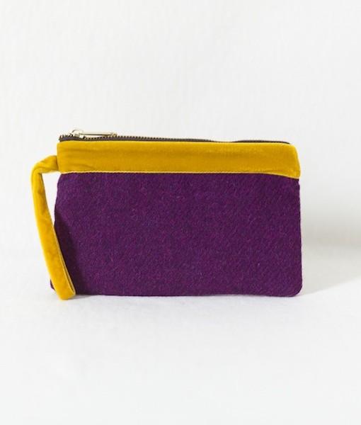 Katherine Emtage pochette grape Harris Tweed with mustard velvet trim front