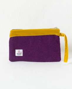 Katherine Emtage pochette grape Harris Tweed with mustard velvet trim reverse