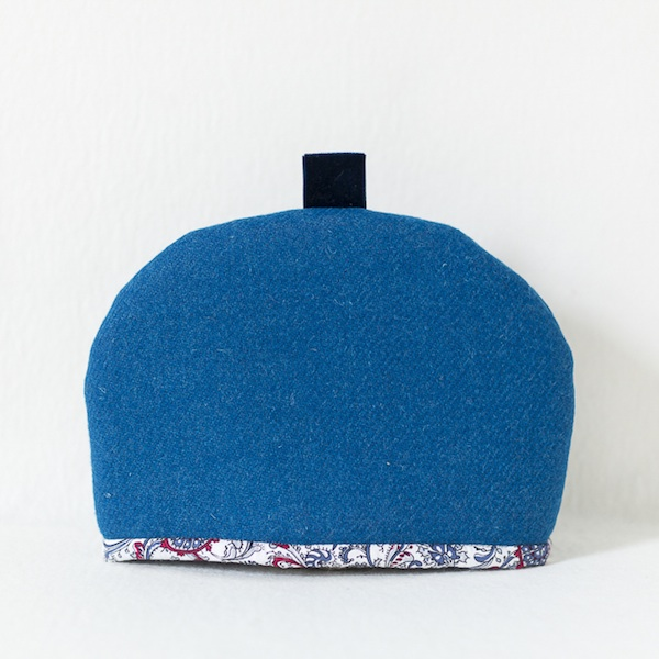 Katherine Emtage tea cosy peacock Harris Tweed medium front