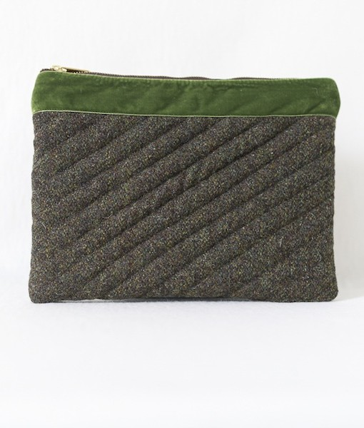 KAtherine Emtage moss brown Harris Tweed iPad clutch front 1