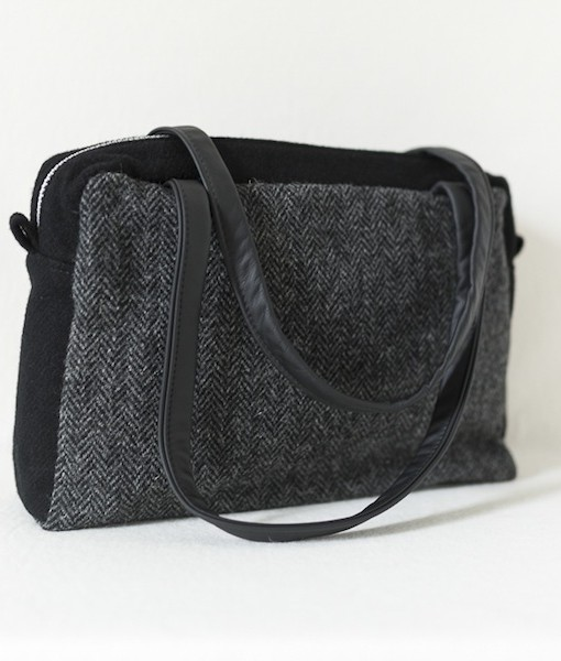 Katherine Emtage ELsie Day Bag charcoal herringbone Harris Tweed with black angle