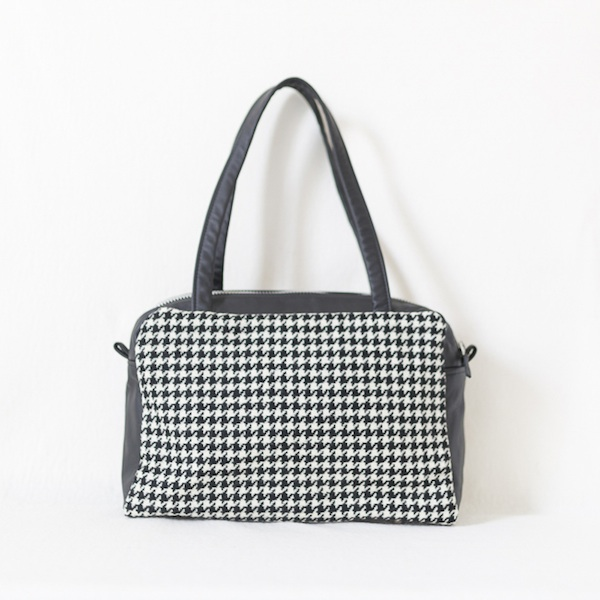 Katherine Emtage Elsie Day Bag black houndstooth with black leather front
