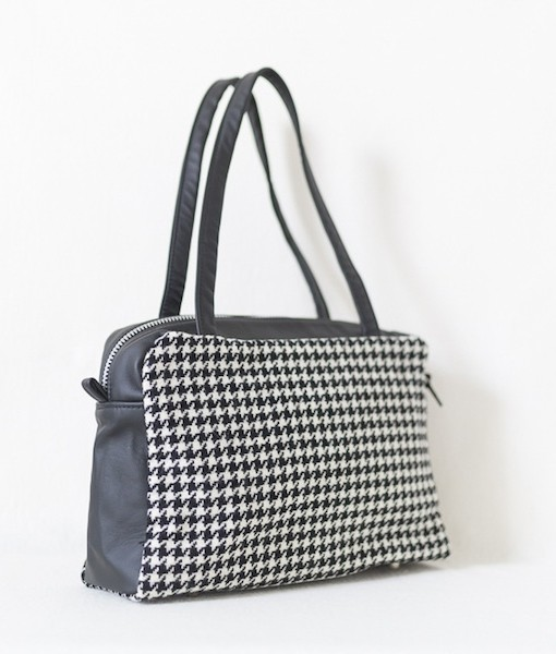Katherine Emtage Elsie Day Bag black & white houndstooth with black leather angle 2