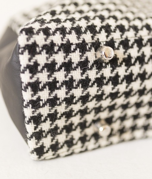 Katherine Emtage Elsie Day Bag black & white houndstooth with black leather base detail