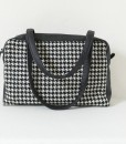 Katherine Emtage Elsie Day Bag black & white houndstooth with black leather both straps down