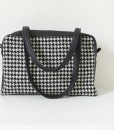 Katherine Emtage Elsie Day Bag black & white houndstooth with black leather both straps down2