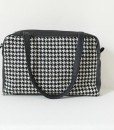 Katherine Emtage Elsie Day Bag black & white houndstooth with black leather trim strap down 2