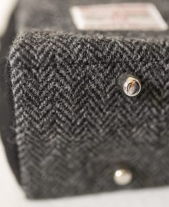 Katherine Emtage Elsie Day Bag charcoal herringbone Harris Tweed detail