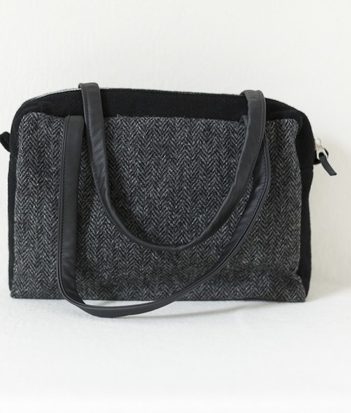 Katherine Emtage Elsie Day Bag charcoal herringbone Harris Tweed with black 2