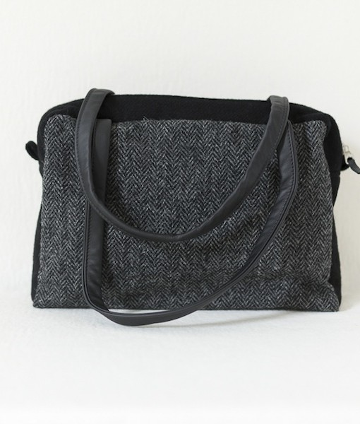 Katherine Emtage Elsie Day Bag charcoal herringbone Harris Tweed with black