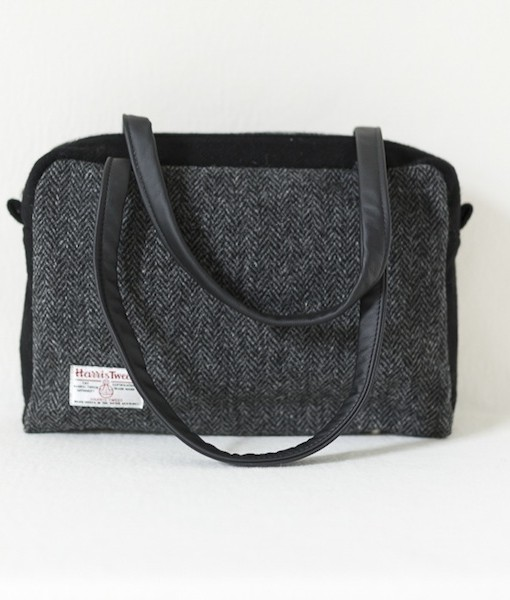 Katherine Emtage Elsie Day Bag charcoal herringbone Harris Tweed with black reverse