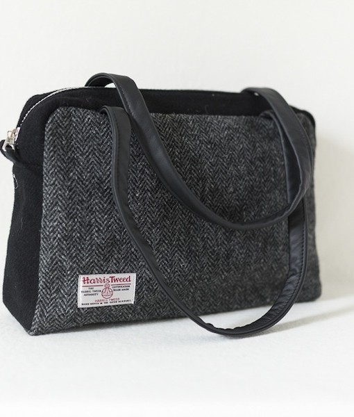 Katherine Emtage Elsie Day Bag charcoal herringbone Harris Tweed with black reverse angle