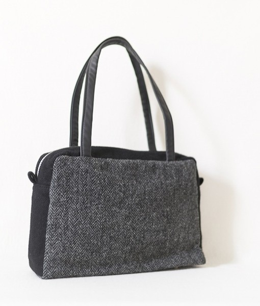Katherine Emtage Elsie Day Bag charcoal herringbone with black Harris Tweed angle 2
