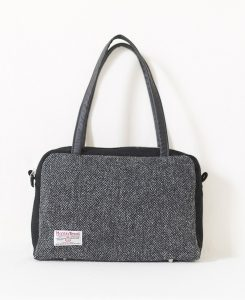 Katherine Emtage Elsie Day Bag charcoal herringbone with black Harris Tweed reverse