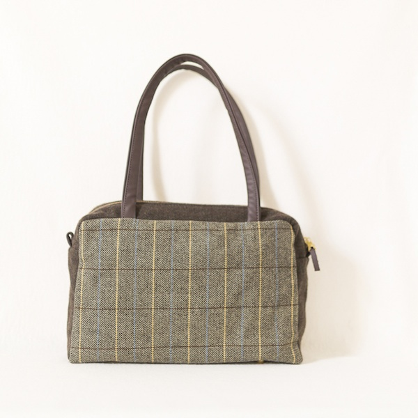 Katherine Emtage Elsie Day Bag limited edition front brown herringbone check